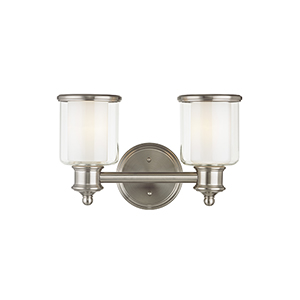 Middlebush Brushed Nickel Two-Light 14.5-Inch Bath Vanity