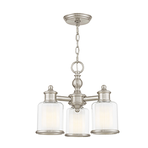 Middlebush Brushed Nickel Three-Light 16-Inch Semi-Flush Mount