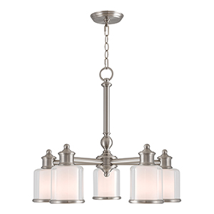 Middlebush Brushed Nickel Five-Light 25-Inch Dinette Chandelier