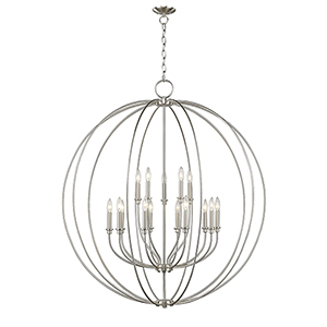 Milania Brushed Nickel 15-Light 42-Inch Foyer Chandelier