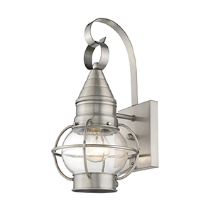 Newburyport Brushed Nickel One-Light 7-Inch Wall Lantern