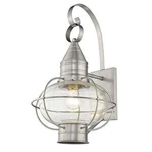 Newburyport Brushed Nickel One-Light 12-Inch Wall Lantern