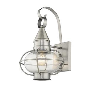 Newburyport Brushed Nickel One-Light 9-Inch Wall Lantern