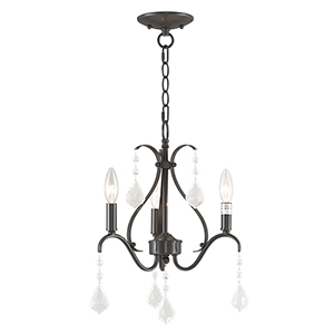 Caterina English Bronze Three-Light 13-Inch Mini Chandelier