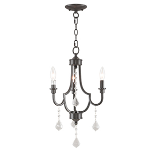Glendale English Bronze Three-Light 14-Inch Mini Chandelier