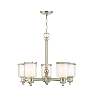 Middlebush Polished Nickel Five-Light 25-Inch Chandelier