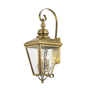 Cambridge Antique Brass 11-Inch Three-Light Outdoor Wall Lantern
