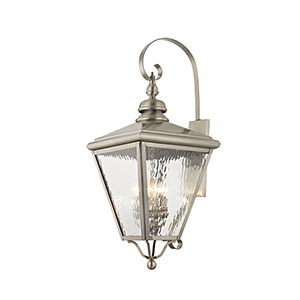 Cambridge Brushed Nickel 14-Inch Four-Light Outdoor Wall Lantern