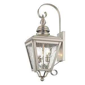 Cambridge Brushed Nickel 8.5-Inch Two-Light Outdoor Wall Lantern