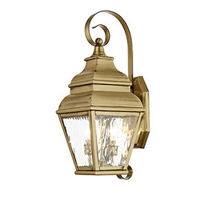 Exeter Antique Brass 8-Inch Two-Light Outdoor Wall Lantern with Clear Water Glass