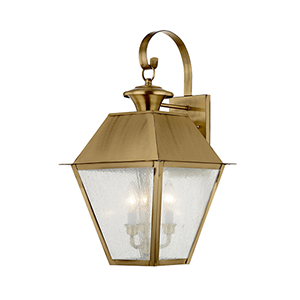 Mansfield Antique Brass 12-Inch Three-Light Outdoor Wall Lantern