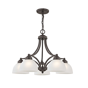 Somerset English Bronze 25-Inch Five-Light Dinette Chandelier with Satin Glass