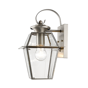 Westover Brushed Nickel 7.5-Inch One-Light Outdoor Wall Lantern