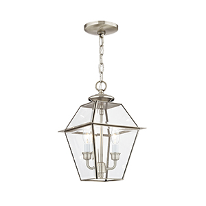 Westover Brushed Nickel 9-Inch Two-Light Outdoor Chain-Hang Lantern with Clear Beveled Glass