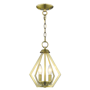 Prism Antique Brass Two-Light Convertible Pendant Ceiling Mount