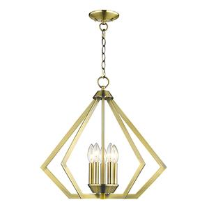 Prism Antique Brass Five-Light Pendant