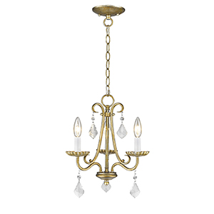 Daphne Antique Gold Leaf Three-Light Chandelier