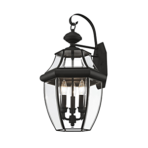 Monterey Black Three-Light Outdoor Wall Lantern