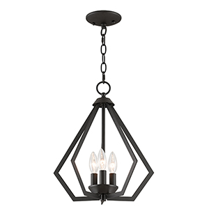 Prism Bronze Three-Light Convertible Pendant Ceiling Mount