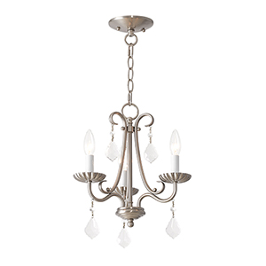 Daphne Brushed Nickel Three-Light Chandelier