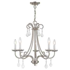 Daphne Brushed Nickel Five-Light Chandelier
