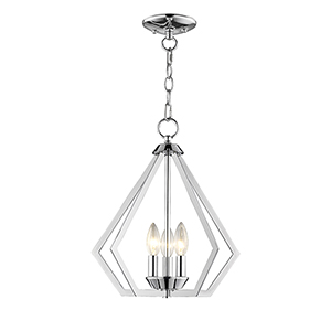 Prism Polished Chrome Three-Light Convertible Pendant Ceiling Mount