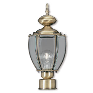 Outdoor Basics Antique Brass 7-Inch One-Light Post-Top Lantern with Clear Beveled Glass