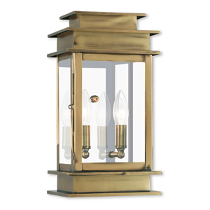 Princeton Antique Brass Two-Light 7.5-Inch Wall Lantern