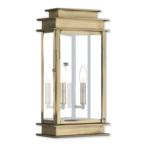 Princeton Antique Brass Two-Light 19-Inch Wall Lantern