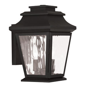 Hathaway Black 8-Inch Two-Light Outdoor Wall Lantern