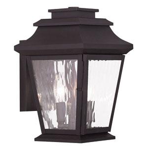 Hathaway Bronze 8-Inch Two-Light Outdoor Wall Lantern