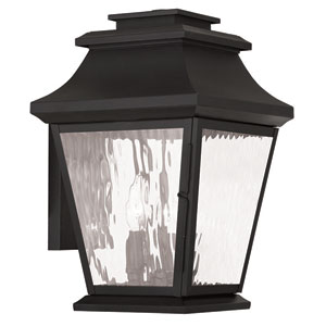 Hathaway Black 10-Inch Three-Light Outdoor Wall Lantern