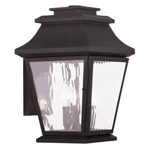 Hathaway Bronze 10-Inch Three-Light Outdoor Wall Lantern