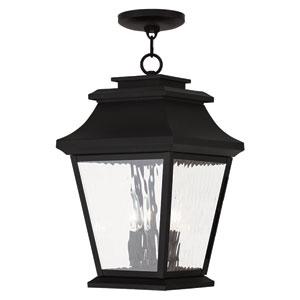 Hathaway Black 10-Inch Three-Light Outdoor Chain Hang Pendant