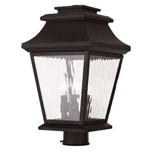 Hathaway Bronze 10-Inch Three-Light Outdoor Post Lantern