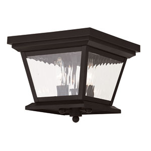 Hathaway Bronze 10-Inch Three-Light Outdoor Flush Mount