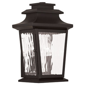 Hathaway Bronze 8-Inch Two-Light Tall Outdoor Wall Lantern