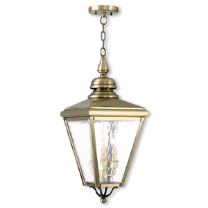 Cambridge Antique Brass 11-Inch Three-Light Outdoor Chain-Hang Lantern with Clear Water Glass