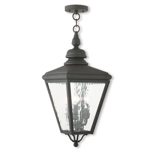 Cambridge Black 11-Inch Three-Light Outdoor Chain-Hang Lantern with Clear Water Glass