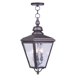 Cambridge Bronze Three-Light Outdoor Pendant