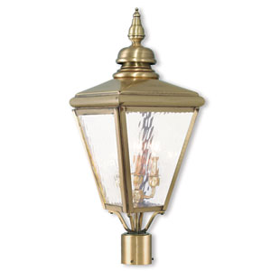 Cambridge Antique Brass Three-Light Post-Top Lantern