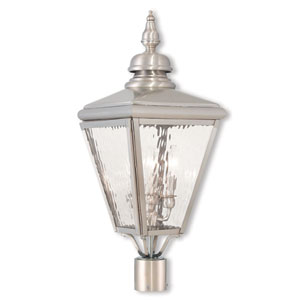 Cambridge Brushed Nickel Three-Light Post-Top Lantern