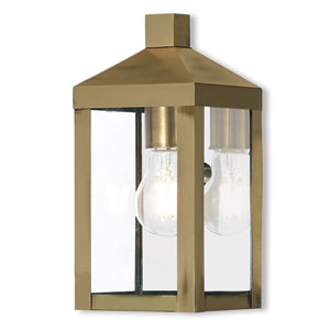 Nyack Antique Brass 5-Inch One-Light Outdoor Wall Lantern