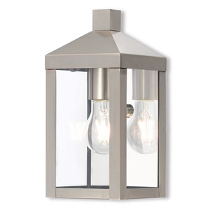 Nyack Brushed Nickel 5-Inch One-Light Outdoor Wall Lantern