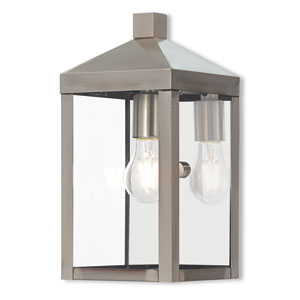 Nyack Brushed Nickel 6-Inch One-Light Outdoor Wall Lantern
