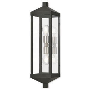 Nyack Black 6-Inch Two-Light Outdoor Wall Lantern