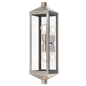 Nyack Brushed Nickel 6-Inch Two-Light Outdoor Wall Lantern