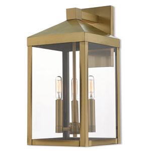 Nyack Antique Brass 8-Inch Three-Light Outdoor Wall Lantern
