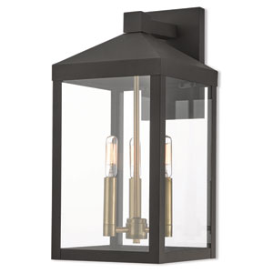 Nyack Bronze 8-Inch Three-Light Outdoor Wall Lantern
