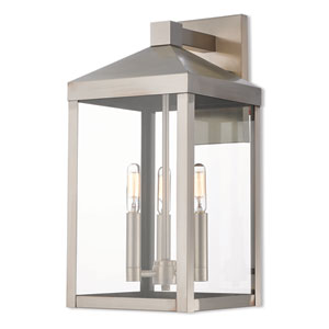 Nyack Brushed Nickel 8-Inch Three-Light Outdoor Wall Lantern